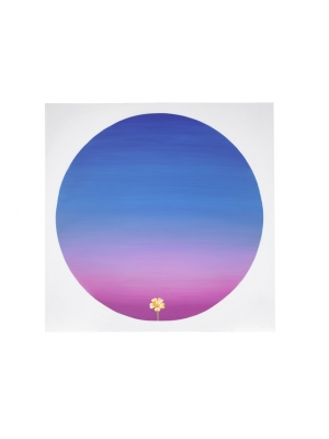 Sky Blue Pink Lithograph (Canvas)